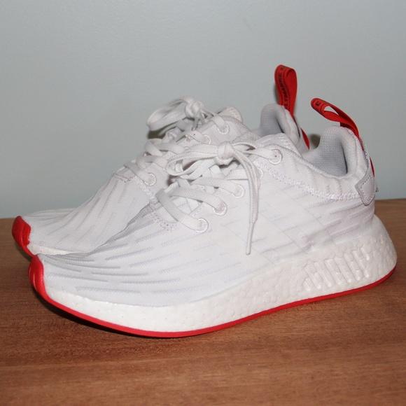 pretty nice 0dd51 6ea7e NWOB Adidas NMD R2 PK Primeknit White Red